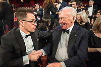 The Oscar&reg; winner for performance by an actor in a supporting role for work on &ldquo;Three Billboards Outside Ebbing, Missouri&rdquo;, Sam Rockwell shakes the hand of Oscar&reg; nominee Christopher Plummer during the live ABC Telecast of The 90th Oscars&reg; at the Dolby&reg; Theatre in Hollywood, CA on Sunday, March 4, 2018.<br /> *Editorial Use Only*<br /> CAP/PLF/AMPAS<br /> Supplied by Capital Pictures