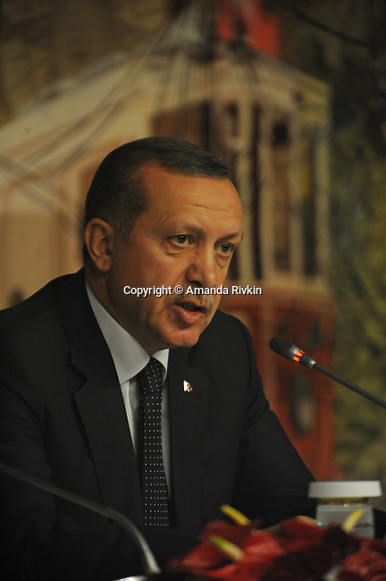 Turkish Prime Minister Recep Tayyip Erdogan is seen at a joint press conference with Russian President Vladimir Putin at the Turkish Prime Minister's office at Dolmabahce Palace in Istanbul, Turkey on December 3, 2012.