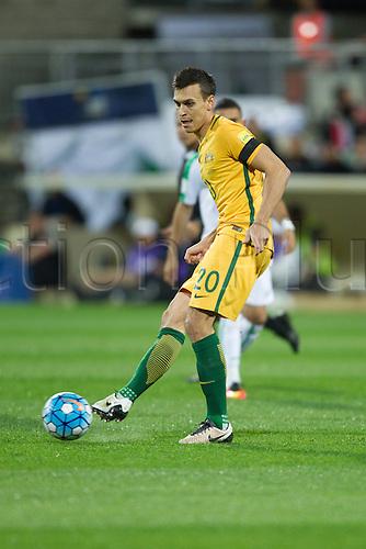 01.09.2016. nib Stadium, Perth, Australia. World Cup Football Qualifier. Australia versus Iraq. Australia's Trent Sainsbury passes to a team mate during the first half against Iraq.