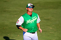 Jackson Generals catcher Matt Jones (16) warms up in the outfield prior to a Southern League game against the Biloxi Shuckers on July 27, 2018 at The Ballpark at Jackson in Jackson, Tennessee. Biloxi defeated Jackson 15-7. (Brad Krause/Four Seam Images)