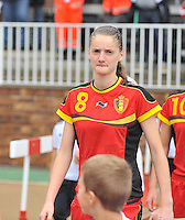 20131011 - SCHWEINFURT , GERMANY :  Belgian Bieke Vandenbussche pictured during the female soccer match between Belgium Women U17 and The Netherlands U17 , in the first game of the Elite round in group6 in the UEFA European Women's Under 17 competition 2013 in the Willy Sachs Stadium - Schweinfurt. Friday 11 October 2013. PHOTO DAVID CATRY
