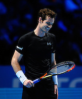 Andy Murray (GBR) smiles during his match against Rafael Nadal (ESP) during Day Four of the Barclays ATP World Tour Finals 2015 played at The O2, London on November 18th 2015