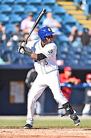Asheville Tourists shortstop Luis Jean (3) awaits a pitch during game one of a double header against the Hickory Crawdads on April 21, 2015 in Asheville, North Carolina. The Crawdads defeated the Tourists 10-1. (Tony Farlow/Four Seam Images)