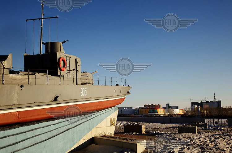A monumental gun boat in the Russian city of Blagoveshchensk, on the Russian side of the Russian-Chinese border, pointing its guns at the Chinese city of Heihe.