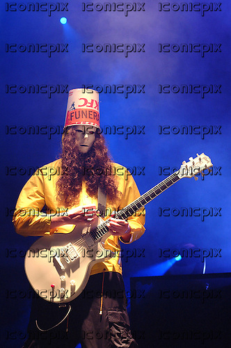 GUNS N' ROSES - guitarist Buckethead - performing live at the Exhibition Centre in Hong Kong - 14 August 2002.  Photo credit: George Chin/IconicPix