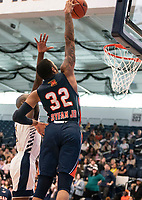 WASHINGTON, DC - NOVEMBER 16: David Syfax Jr. #32 of Morgan State shoots a basket during a game between Morgan State University and George Washington University at The Smith Center on November 16, 2019 in Washington, DC.