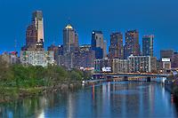 Philadelphia PA, skyline, reflections, View, Schuylkill River, Expressway, USA