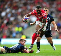 LCpl Semesa Rokoduguni of the British Army takes on the Royal Navy defence. Babcock Inter-Services Championship match between the British Army and the Royal Navy on April 30, 2016 at Twickenham Stadium in London, England. Photo by: Patrick Khachfe / Onside Images