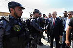 Palestinian Prime Minister Rami Hamdallah visits a water desalination plant in Khan Younis in the southern Gaza Strip October 5, 2017. Photo by Prime Minister Office