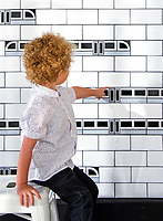 "Subway!, a waterjet jewel glass mosaic, shown in Absolute White, Obsidian, and Alabaster, is part of Cean Irminger's second KIDDO Collection, ""KIDDO: Wunderkammer Edition."""
