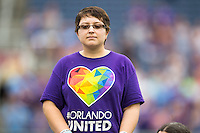 Orlando, FL - Sunday July 10, 2016: Banner kid prior to a regular season National Women's Soccer League (NWSL) match between the Orlando Pride and the Boston Breakers at Camping World Stadium.