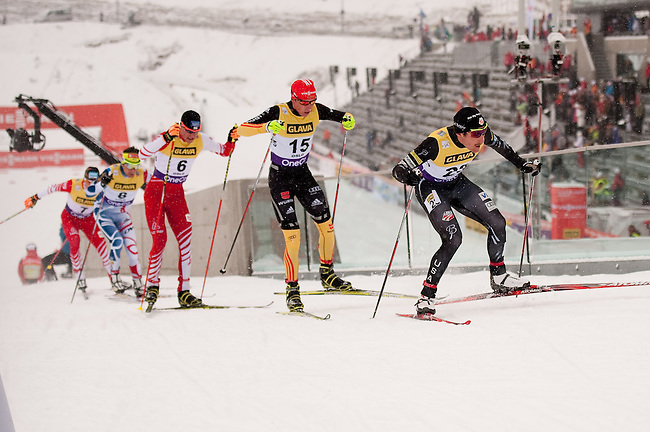 HOLMENKOLLEN, OSLO, NORWAY - March 15: (R-L) Taylor Fletcher of USA, Johannes Rydzek of Germany (GER), Bernhard Gruber of Austria (AUT), Jason Lamy Chappuis of France (FRA) and Wilhelm Denifl of Austria (AUT) during the cross country 10 km (4 x 2.5 km) competition at the FIS Nordic Combined World Cup on March 15, 2013 in Oslo, Norway. (Photo by Dirk Markgraf)
