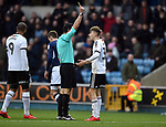 David Brooks of Sheffield United gets a yellow card from Referee Andrew Madley during the championship match at The Den Stadium, Millwall. Picture date 2nd December 2017. Picture credit should read: Robin Parker/Sportimage
