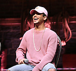 Jordan Fisher from 'Hamilton' greet High School students from The Rockefeller Foundation, and The Gilder Lehrman Institute of American History before a 'Hamilton' matinee performance at the Richard Rodgers Theatre on 11/30/2016 in New York City.
