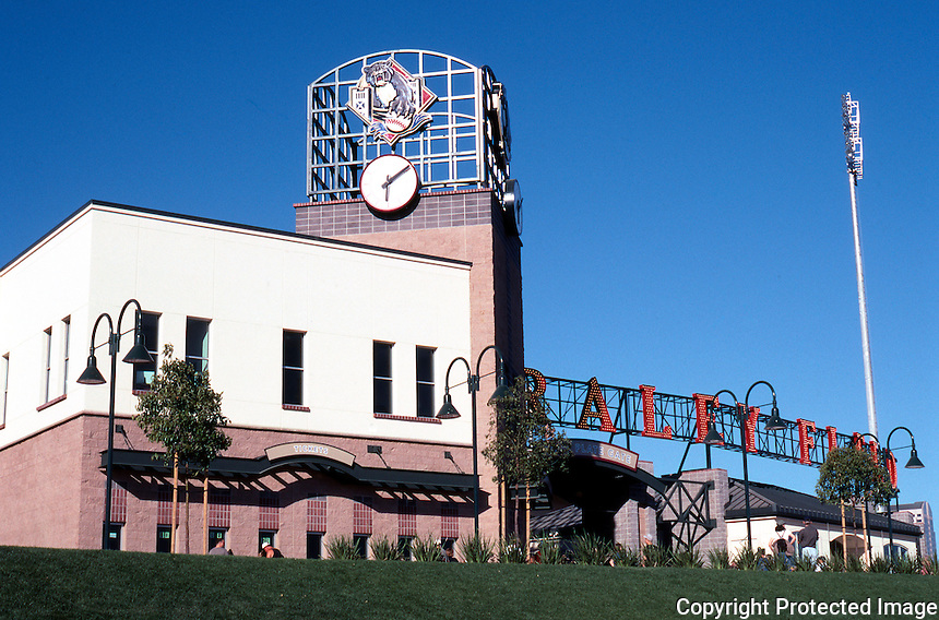 Ballparks: Sacramento, CA. Entrance to Raley Field. Opened in 2000.