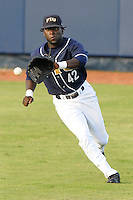 2 April 2008: Florida International center fielder Lammar Guy (42) fields a hit in the second inning of the University of Miami 13-2 victory over FIU at University Park Stadium in Miami, Florida.