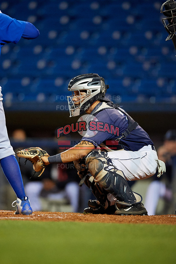 Lake County Captains catcher Joshua Rolette (27) waits to receive a pitch during the second game of a doubleheader against the South Bend Cubs on May 16, 2018 at Classic Park in Eastlake, Ohio.  Lake County defeated South Bend 5-2.  (Mike Janes/Four Seam Images)