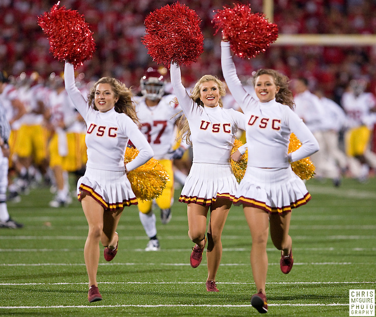 12 September 2009:  Football -- The USC song girls take the field following halftime of their game against Ohio State at Ohio Stadium in Columbus.  USC won 18-15.  Photo by Christopher McGuire.