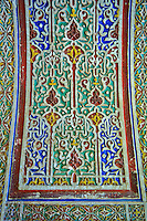 Berber Arabesque painted Morabe platerwork architectural details from the Petite Court, Bahia Palace, Marrakesh, Morroco