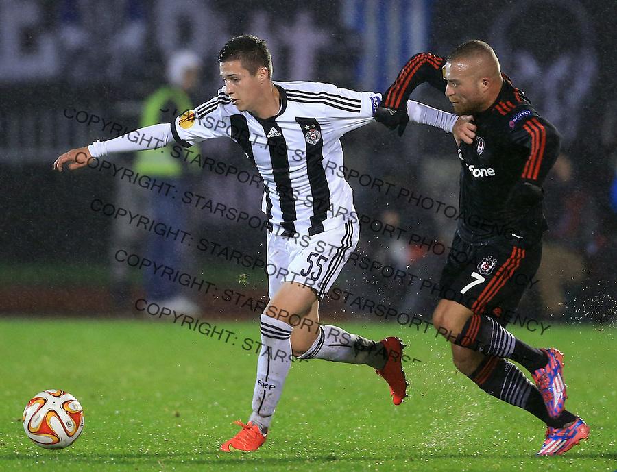 Fudbal Football Soocer<br /> UEFA Europe League <br /> Partizan v Besiktas<br /> Danilo Pantic (L) and Gokhan Tore<br /> Beograd, 23.09.2014.<br /> foto: Srdjan Stevanovic/Starsportphoto&copy;
