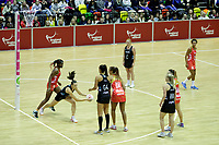 \20.01.2018 Bailey Mes of Silver Ferns catches the abll during the Netball Quad Series netball match between England Roses and Silver Ferns at the Copper Box Arena in London. Mandatory Photo Credit: ©Ben Queenborough/Michael Bradley Photography