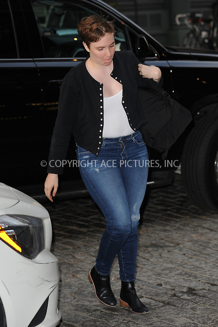 WWW.ACEPIXS.COM<br /> May 28, 2015 New York City<br /> <br /> Lena Dunham arrives to Taylor Swift's apartment in New York City on May 28, 2015.<br /> <br /> By Line: Kristin Callahan/ACE Pictures<br /> <br /> Tel: 646 769 0430<br /> Email: info@acepixs.com<br /> www.acepixs.com
