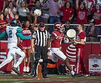 Hawgs Illustrated/BEN GOFF <br /> T.J. Hammonds, Arkansas running back, goes for a touchdown against Coastal Carolina in the second quarter Saturday, Nov. 4, 2017, at Reynolds Razorback Stadium in Fayetteville.