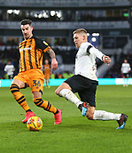 9th February 2019, Pride Park, Derby, England; EFL Championship football, Derby Country versus Hull City; Martyn Waghorn of Derby County takes on Liam Ridgewell of Hull City