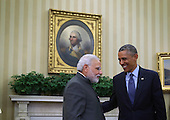 United States President Barack Obama meets with Indian Prime Minister Narendra Modi in the Oval Office of the White House September 30, 2014 in Washington, DC. The two leaders met to discuss the U.S.-India strategic partnership and mutual interest issues. <br /> Credit: Alex Wong / Pool via CNP