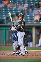 Ryan Scott (6) of the Salt Lake Bees bats against the Reno Aces at Smith's Ballpark on June 26, 2019 in Salt Lake City, Utah. The Aces defeated the Bees 6-4. (Stephen Smith/Four Seam Images)