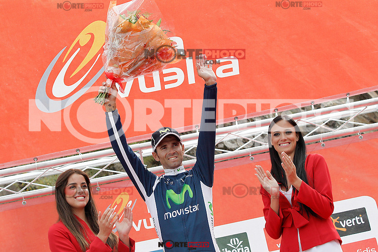 Alejandro Valverde celebrates the victory in the stage of La Vuelta 2012 between Lleida-Lerida and Collado de la Gallina (Andorra).August 25,2012. (ALTERPHOTOS/Acero) /NortePhoto.com<br />