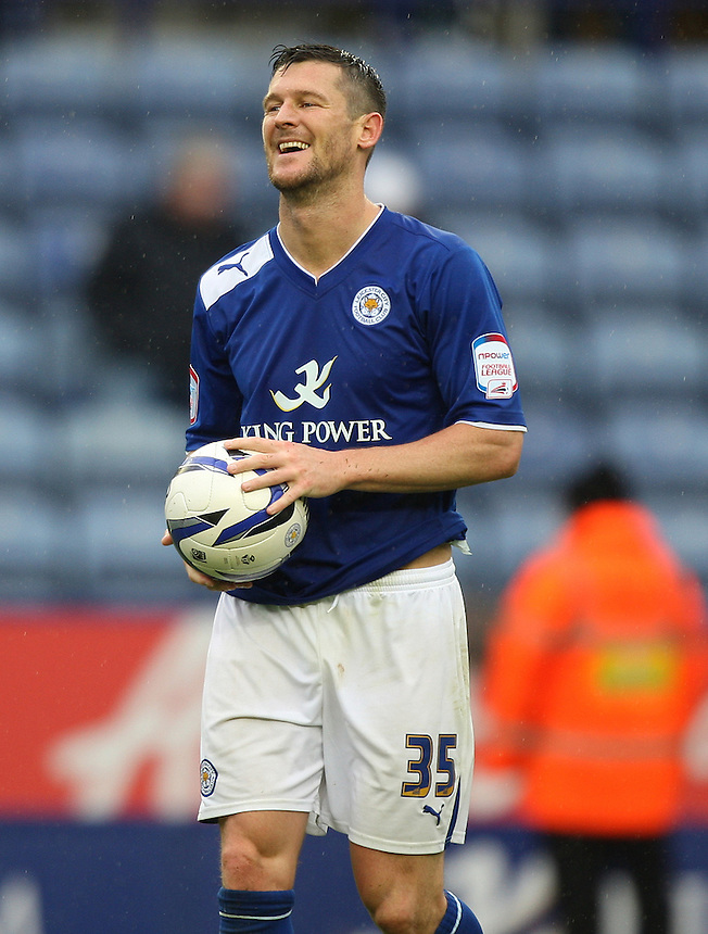 Leicester City's David Nugent celebrates his hat trick and takes possession of the match ball after the final whistle..Football - npower Football League Championship - Leicester City v Hull City - Sunday 23rd September 2012 - King Power Stadium - Leicester..