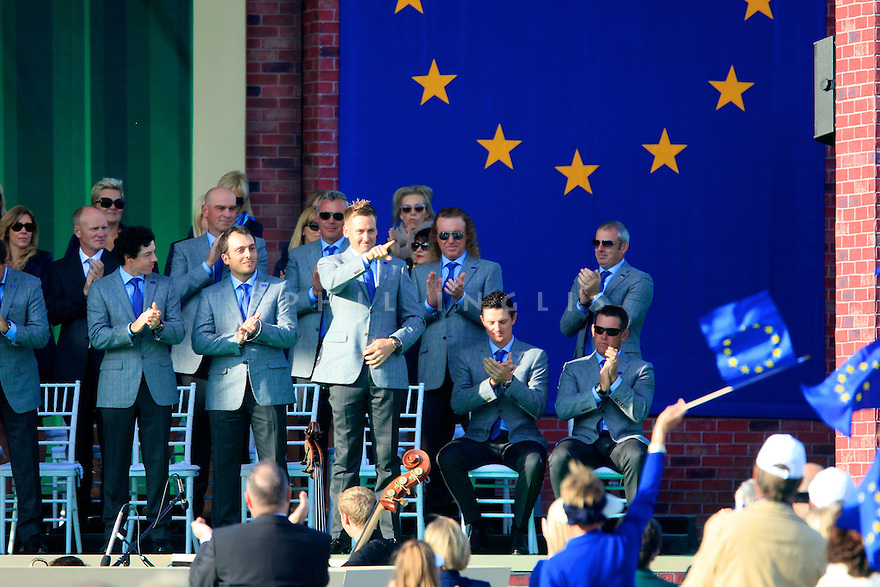 Ian Poulter of Team Europe during the opening ceremony of the 39th Ryder Cup matches, Medinah Country Club, Chicago, Illinois, USA.  28-30 September 2012 (Picture Credit / Phil Inglis)