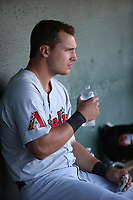 Grant Heyman (34) of the Visalia Rawhide in the dugout during a game against the Lancaster JetHawks at The Hanger on August 9, 2017 in Lancaster, California. Lancaster defeated Visalia, 7-4. (Larry Goren/Four Seam Images)