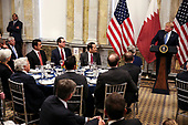 United States President Donald J. Trump speaks during a dinner hosted by the Secretary of the Treasury in honor of Qatar's Emir Sheikh Tamim bin Hamad Al Thani on July 8, 2019 in Washington, DC.<br /> Credit: Oliver Contreras / Pool via CNP