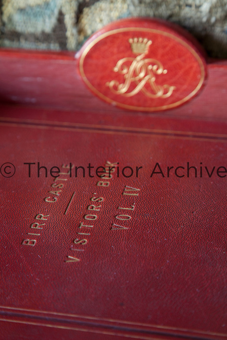 Detail of one of the Birr Castle visitors' books, vibrantly bound in red leather