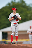 Auburn Doubledays starting pitcher Reid Schaller (33) gets ready to deliver a pitch during a game against the Batavia Muckdogs on September 2, 2018 at Dwyer Stadium in Batavia, New York.  Batavia defeated Auburn 5-4.  (Mike Janes/Four Seam Images)