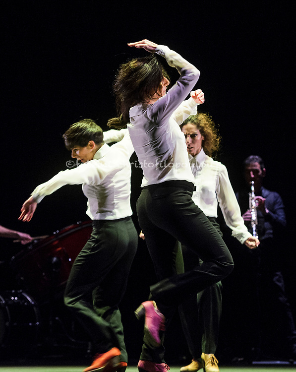London, UK. 18.02.2018. Dramatist Pedro G. Romero and flamenco dancers Ursula López, Tamara López and Leonor Leal present Painter and Flamenco: J.R.T. as part of the Flamenco Festival London 2018 at Sadler's Wells Theatre, 18 Feb. Photo shows: Leonor Leal, Tamara López, Úrsula López. Photo - © Foteini Christofilopoulou.