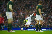 Toby Flood of England takes a penalty kick during the QBE Autumn International match between England and South Africa at Twickenham on Saturday 24 November 2012 (Photo by Rob Munro)