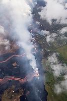 May 2018: An aerial view of the Kilauea Volcano eruption nearing the Puna Geothermal Venture and other structures in Puna, Big Island of Hawai'i.