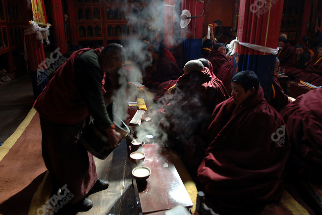 A nun poured tea before a session of chanting at the Tidron Nunnery in central Tibet. November 15, 2006