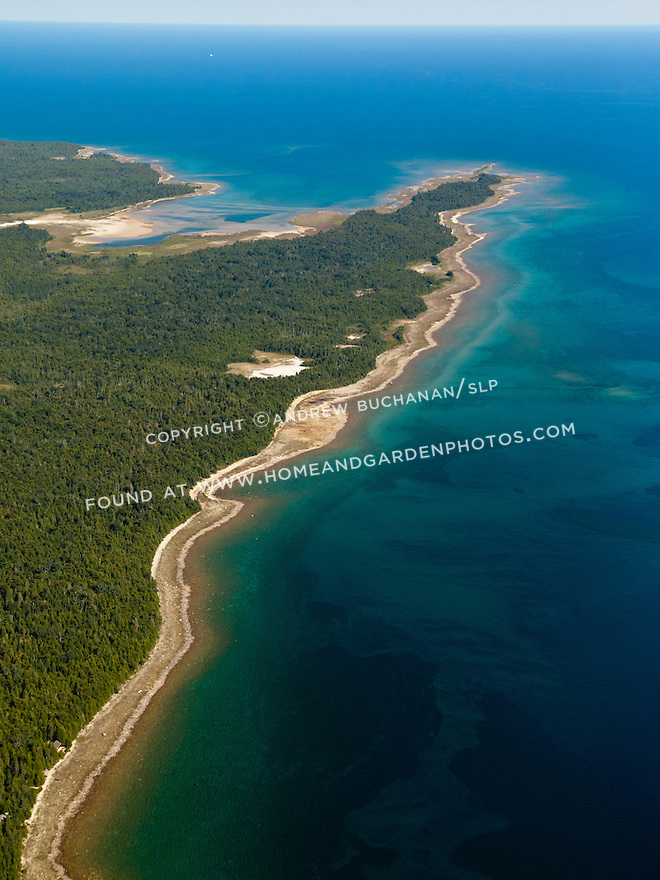 Point Fuyard on Marquette Island looking toward Voight Bay and Lake Huron near Hessel, MI