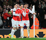Arsenal's Mesut Ozil celebrates scoring his sides second goal<br /> <br /> Barclays Premier League- Arsenal vs AFC Bournemouth - Emirates Stadium - England - 28th December 2015 - Picture - David Klein/Sportimage