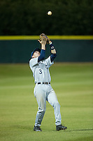Catawba Indians shortstop Jeremy Simpson (3) catches a fly ball in shallow left field during the game against the Belmont Abbey Crusaders at Abbey Yard on February 7, 2017 in Belmont, North Carolina.  The Crusaders defeated the Indians 12-9.  (Brian Westerholt/Four Seam Images)