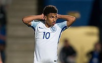 Marcus Edwards (Tottenham Hotspur) of England U20 reaction as he misses a penalty kick during the International friendly match between England U20 and Netherlands U20 at New Bucks Head, Telford, England on 31 August 2017. Photo by Andy Rowland.