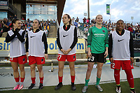 Cary, NC - Saturday April 22, 2017: Hayley Raso, Meleana Shim, Meghan Cox, Britt Eckerstrom, Meg Morris prior to a regular season National Women's Soccer League (NWSL) match between the North Carolina Courage and the Portland Thorns FC at Sahlen's Stadium at WakeMed Soccer Park.