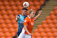 Danny Rowe of Wycombe Wanderers gets his head to the ball during the Sky Bet League 2 match between Blackpool and Wycombe Wanderers at Bloomfield Road, Blackpool, England on 20 August 2016. Photo by James Williamson / PRiME Media Images.