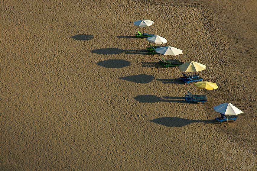 Graphic Umbrellas Sunset at Kuta Beach