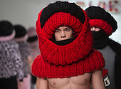 "Tuesday, 8 January 2013. London, United Kingdom. Designers Sid Bryan, Joe Bates and Cozette McCreery ""SIBLING"" show their Autumn/Winter 2013 knitwear collection at a catwalk show during London Collections: Men. Menswear fashion event which used to be part of London Fashion Week. Photo credit: CatwalkFashion/Alamy Live News"