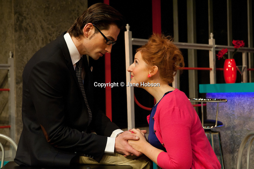 """London, UK. 11/11/2011. """"EX"""", a new musical, opens at the Soho theatre. A Two's Company and Soho Theatre production, written by Rob Young, music by Ross Lorraine and directed by Tricia Thorns. Picture shows Simon Thomas (as Keith) and Amy Booth-Steel (as Ruby). Photo credit: Jane Hobson"""